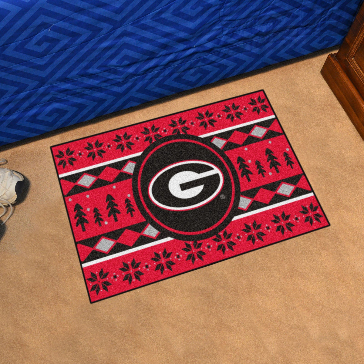 Collegiate - Holiday Sweater Starter Mat Collegiate Mats, Rectangular Mats, Holiday Sweater Starter Mat, Collegiate, Home Fan Mats Georgia
