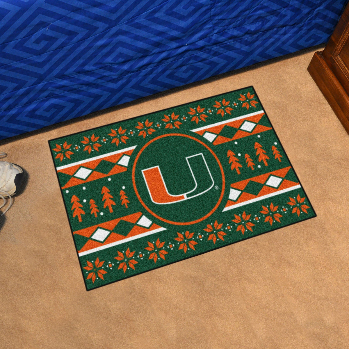 Collegiate - Holiday Sweater Starter Mat Collegiate Mats, Rectangular Mats, Holiday Sweater Starter Mat, Collegiate, Home Fan Mats Miami