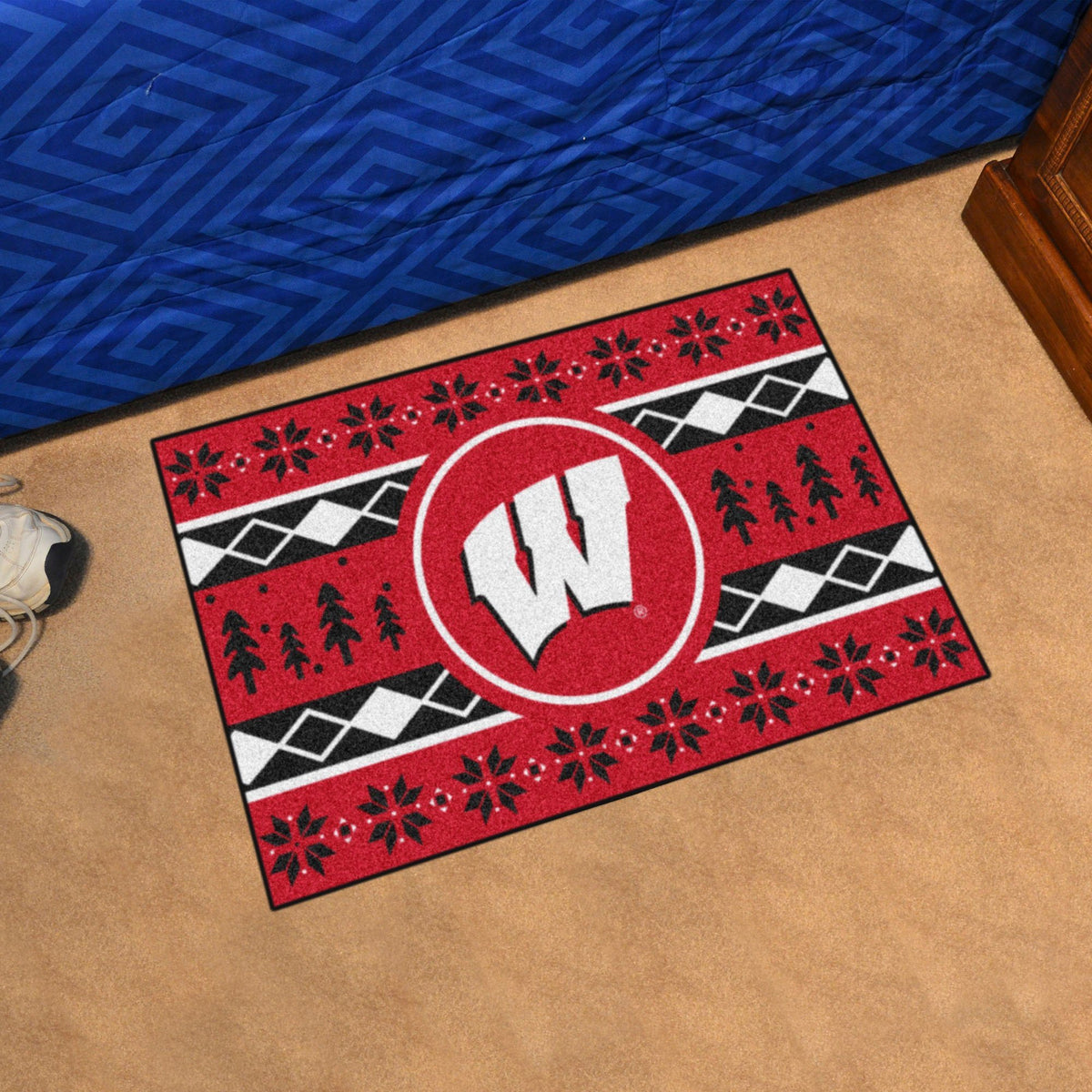 Collegiate - Holiday Sweater Starter Mat Collegiate Mats, Rectangular Mats, Holiday Sweater Starter Mat, Collegiate, Home Fan Mats Wisconsin