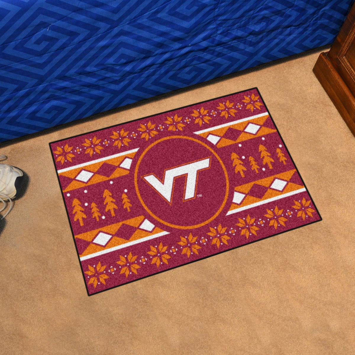 Collegiate - Holiday Sweater Starter Mat Collegiate Mats, Rectangular Mats, Holiday Sweater Starter Mat, Collegiate, Home Fan Mats Virginia Tech