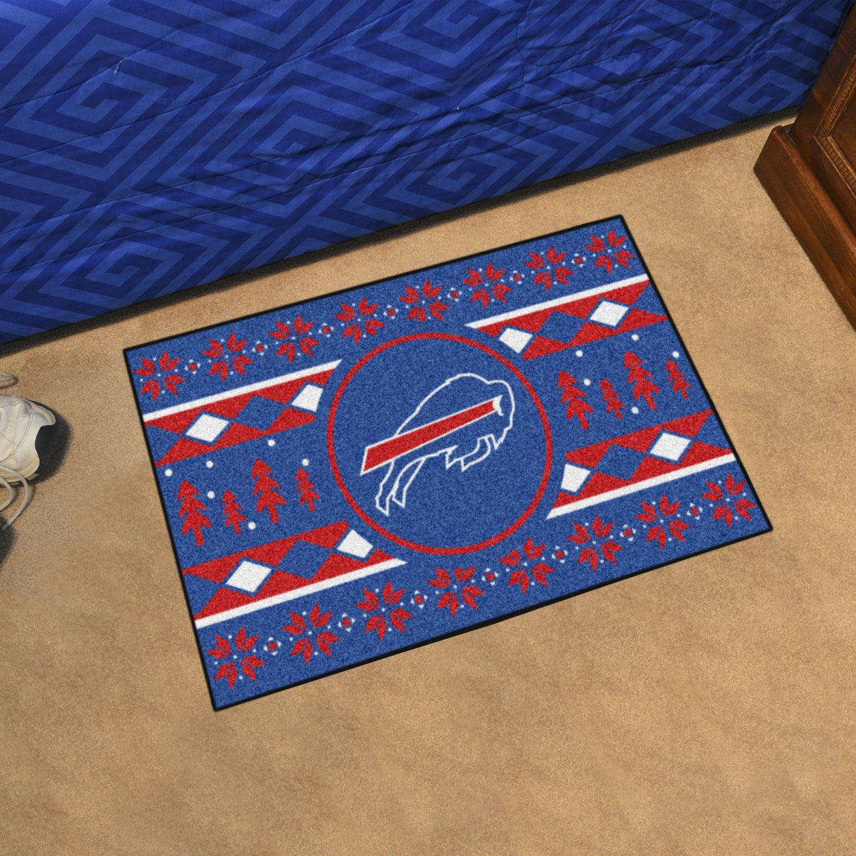"NFL - Holiday Sweater Starter Mat, 19"" x 30"" NFL Mats, Rectangular Mats, Holiday Sweater Starter Mat, NFL, Home Fan Mats Buffalo Bills"