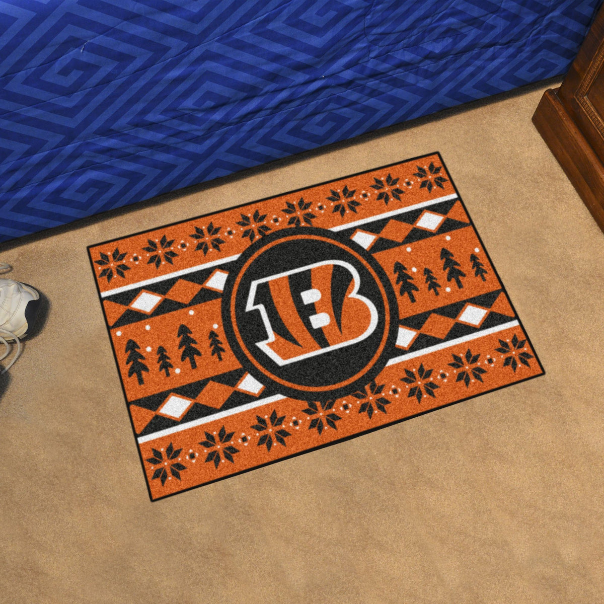 "NFL - Holiday Sweater Starter Mat, 19"" x 30"" NFL Mats, Rectangular Mats, Holiday Sweater Starter Mat, NFL, Home Fan Mats Cincinnati Bengals"