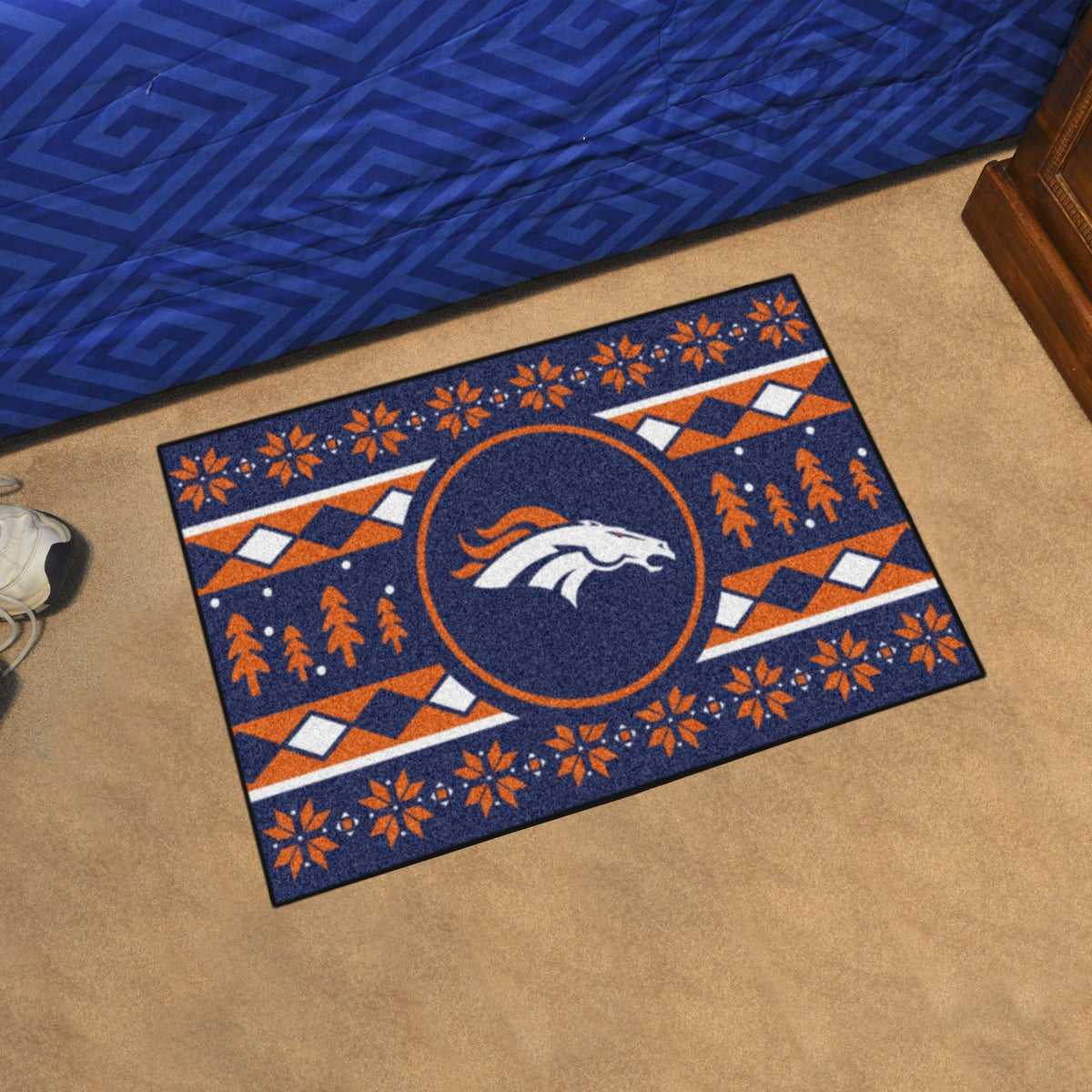 "NFL - Holiday Sweater Starter Mat, 19"" x 30"" NFL Mats, Rectangular Mats, Holiday Sweater Starter Mat, NFL, Home Fan Mats Denver Broncos"