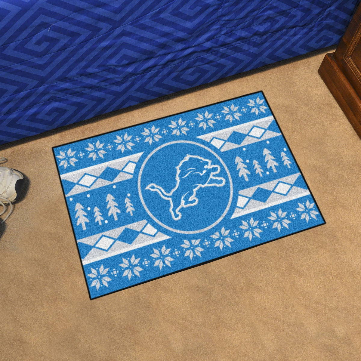"NFL - Holiday Sweater Starter Mat, 19"" x 30"" NFL Mats, Rectangular Mats, Holiday Sweater Starter Mat, NFL, Home Fan Mats Detroit Lions"