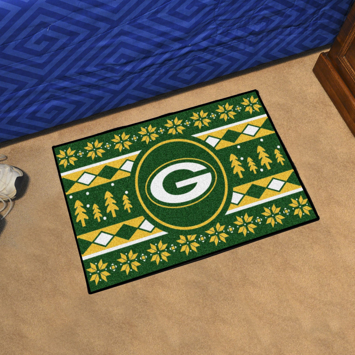 "NFL - Holiday Sweater Starter Mat, 19"" x 30"" NFL Mats, Rectangular Mats, Holiday Sweater Starter Mat, NFL, Home Fan Mats Green Bay Packers"