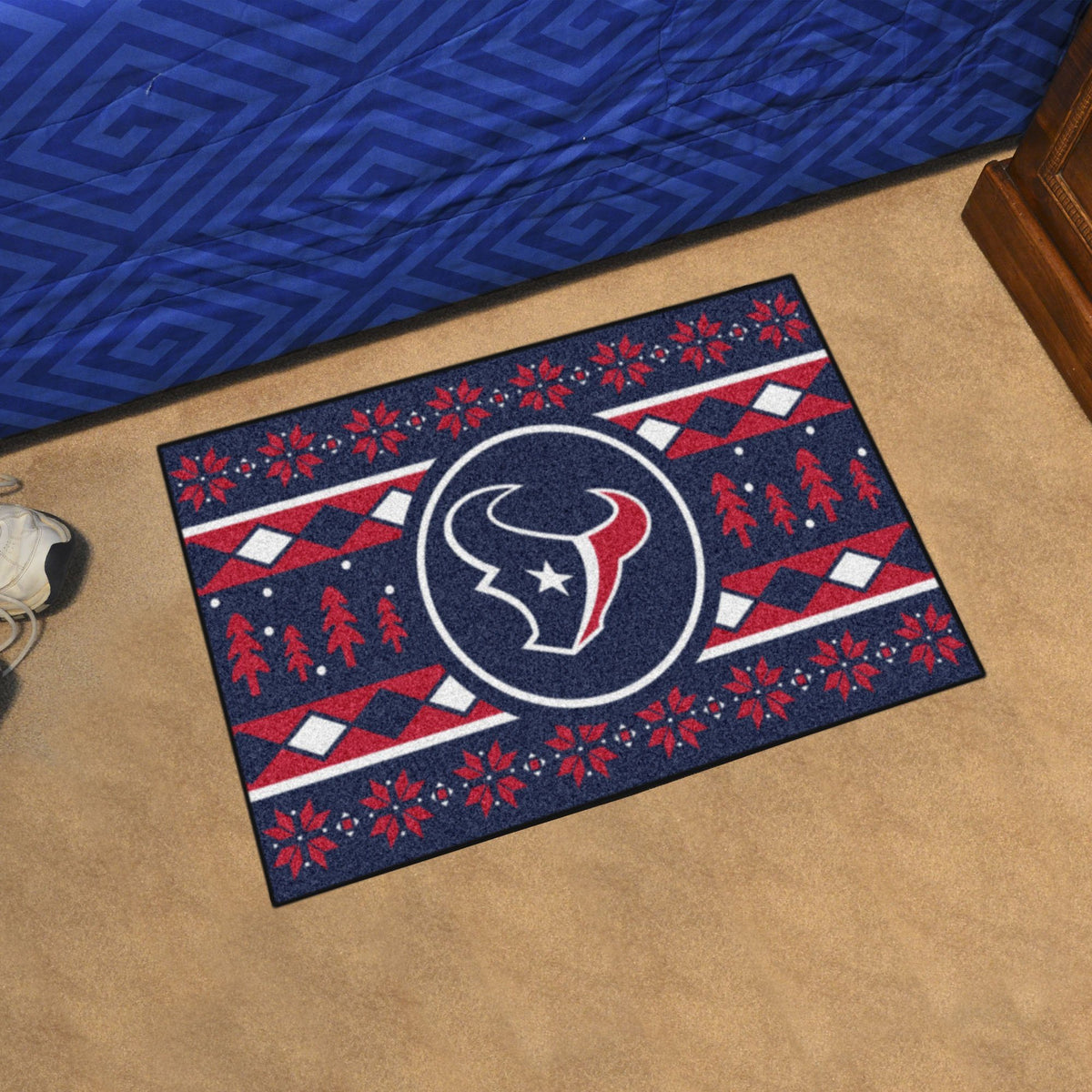 "NFL - Holiday Sweater Starter Mat, 19"" x 30"" NFL Mats, Rectangular Mats, Holiday Sweater Starter Mat, NFL, Home Fan Mats Houston Texans"