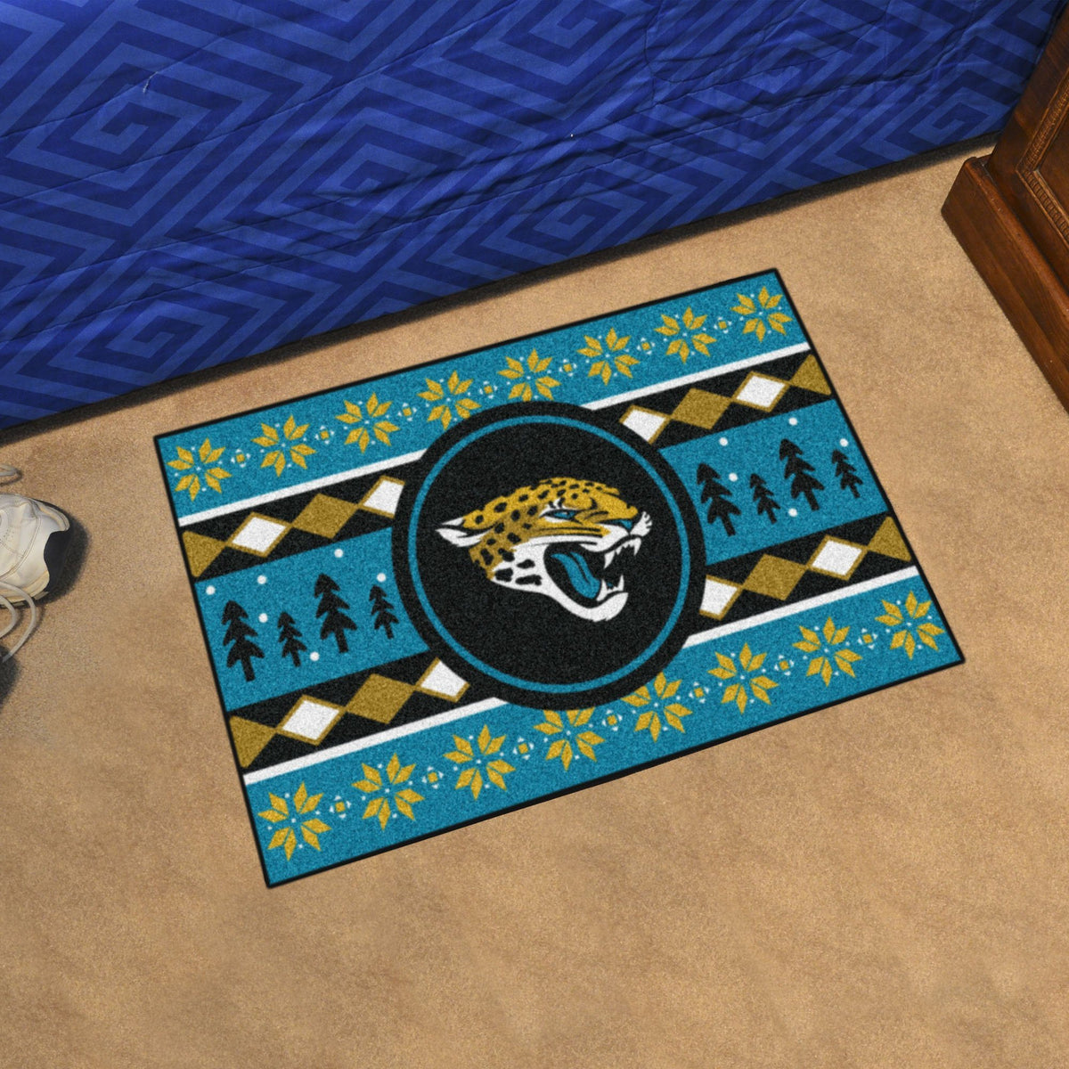 "NFL - Holiday Sweater Starter Mat, 19"" x 30"" NFL Mats, Rectangular Mats, Holiday Sweater Starter Mat, NFL, Home Fan Mats Jacksonville Jaguars"