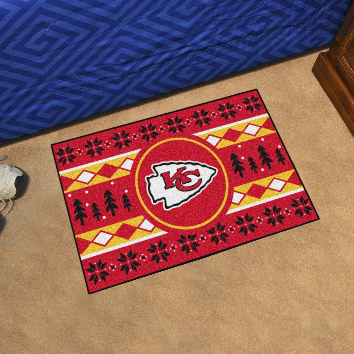"NFL - Holiday Sweater Starter Mat, 19"" x 30"" NFL Mats, Rectangular Mats, Holiday Sweater Starter Mat, NFL, Home Fan Mats Kansas City Chiefs"