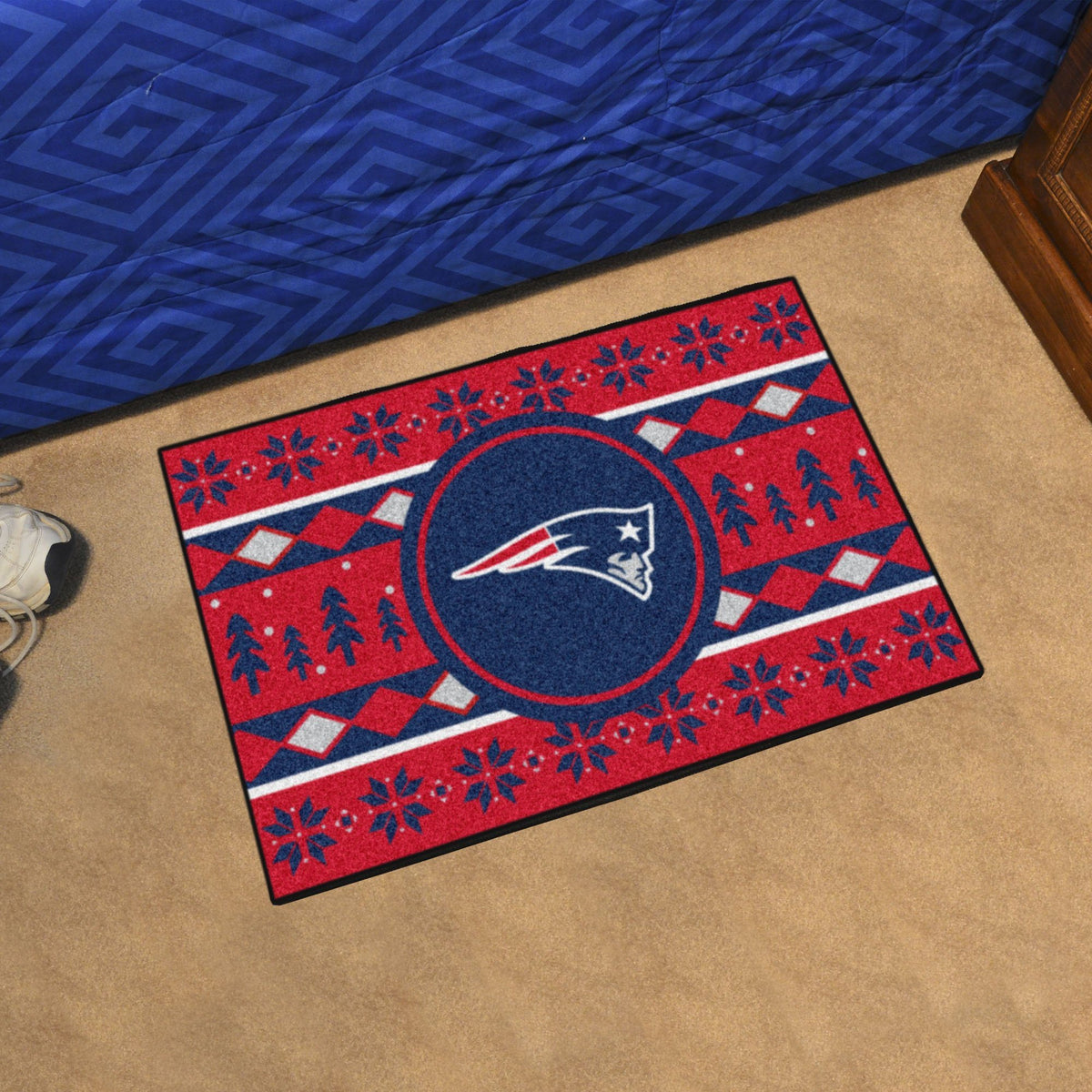 "NFL - Holiday Sweater Starter Mat, 19"" x 30"" NFL Mats, Rectangular Mats, Holiday Sweater Starter Mat, NFL, Home Fan Mats New England Patriots"