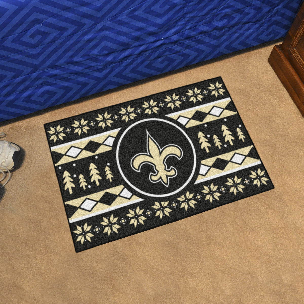 "NFL - Holiday Sweater Starter Mat, 19"" x 30"" NFL Mats, Rectangular Mats, Holiday Sweater Starter Mat, NFL, Home Fan Mats New Orleans Saints"