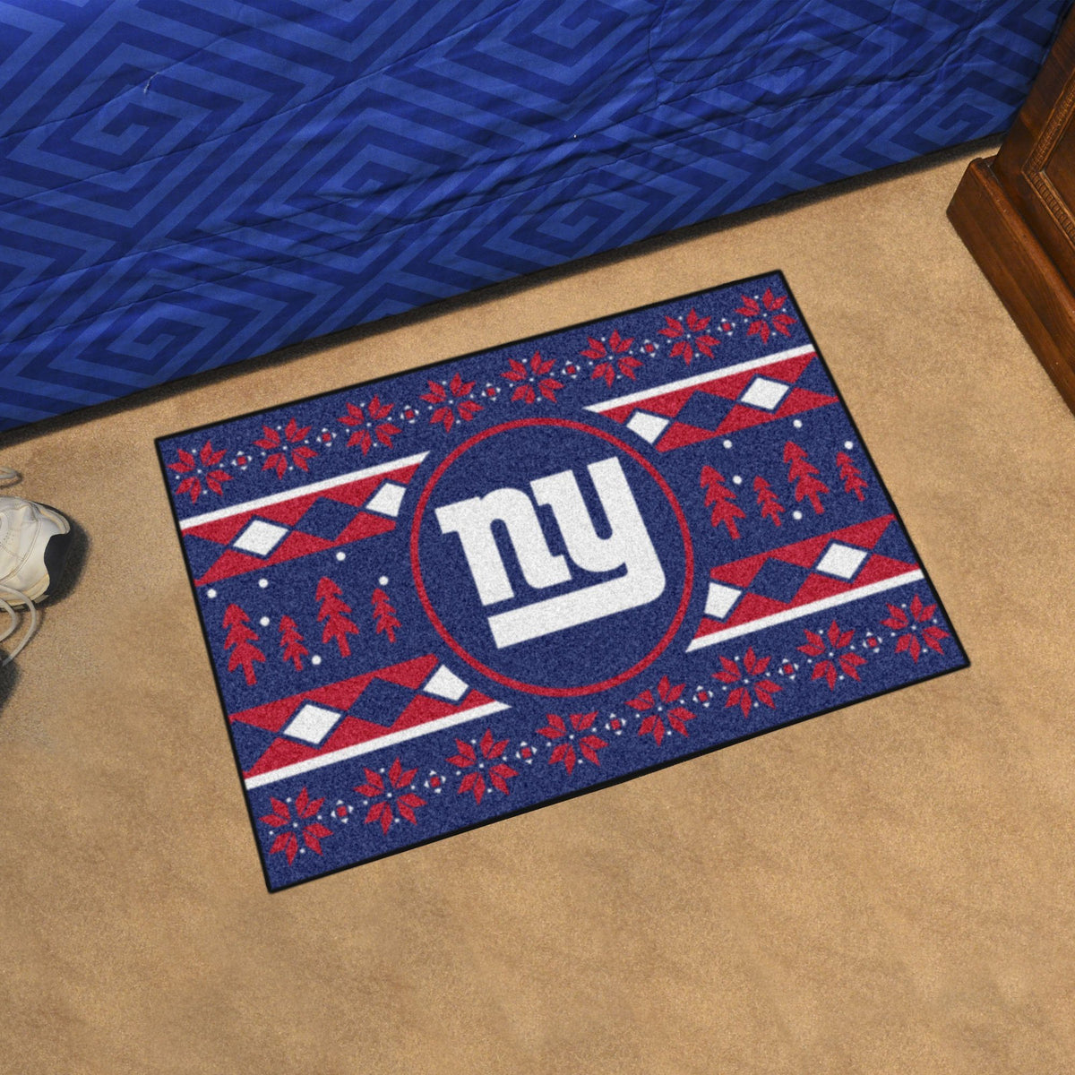 "NFL - Holiday Sweater Starter Mat, 19"" x 30"" NFL Mats, Rectangular Mats, Holiday Sweater Starter Mat, NFL, Home Fan Mats New York Giants"