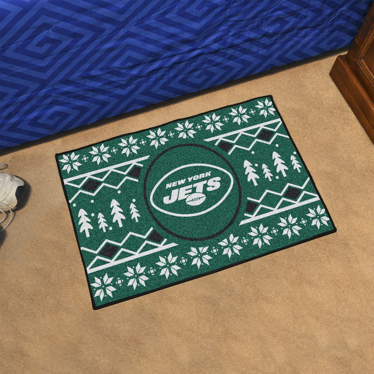 "NFL - Holiday Sweater Starter Mat, 19"" x 30"" NFL Mats, Rectangular Mats, Holiday Sweater Starter Mat, NFL, Home Fan Mats New York Jets"