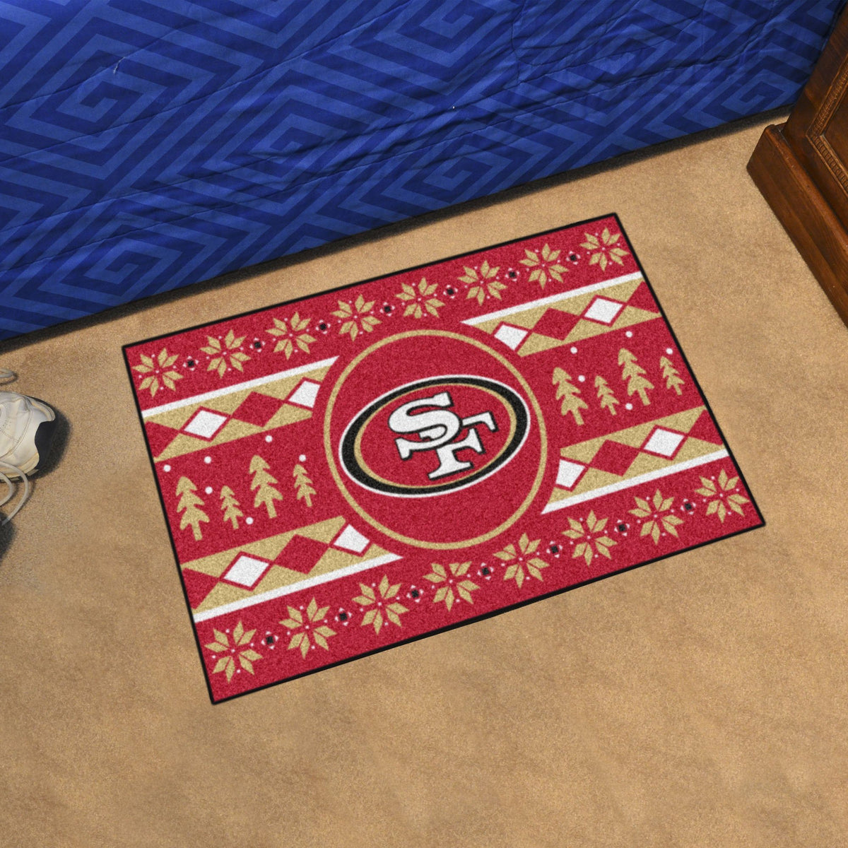 "NFL - Holiday Sweater Starter Mat, 19"" x 30"" NFL Mats, Rectangular Mats, Holiday Sweater Starter Mat, NFL, Home Fan Mats San Francisco 49ers"