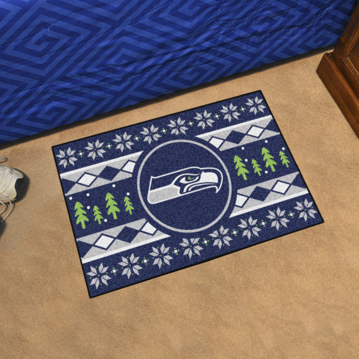 "NFL - Holiday Sweater Starter Mat, 19"" x 30"" NFL Mats, Rectangular Mats, Holiday Sweater Starter Mat, NFL, Home Fan Mats Seattle Seahawks"