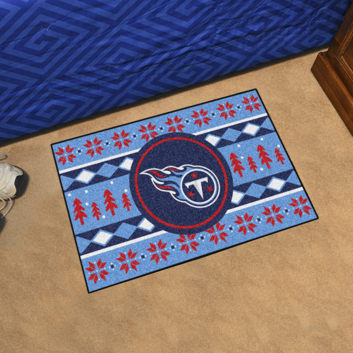 "NFL - Holiday Sweater Starter Mat, 19"" x 30"" NFL Mats, Rectangular Mats, Holiday Sweater Starter Mat, NFL, Home Fan Mats Tennessee Titans"