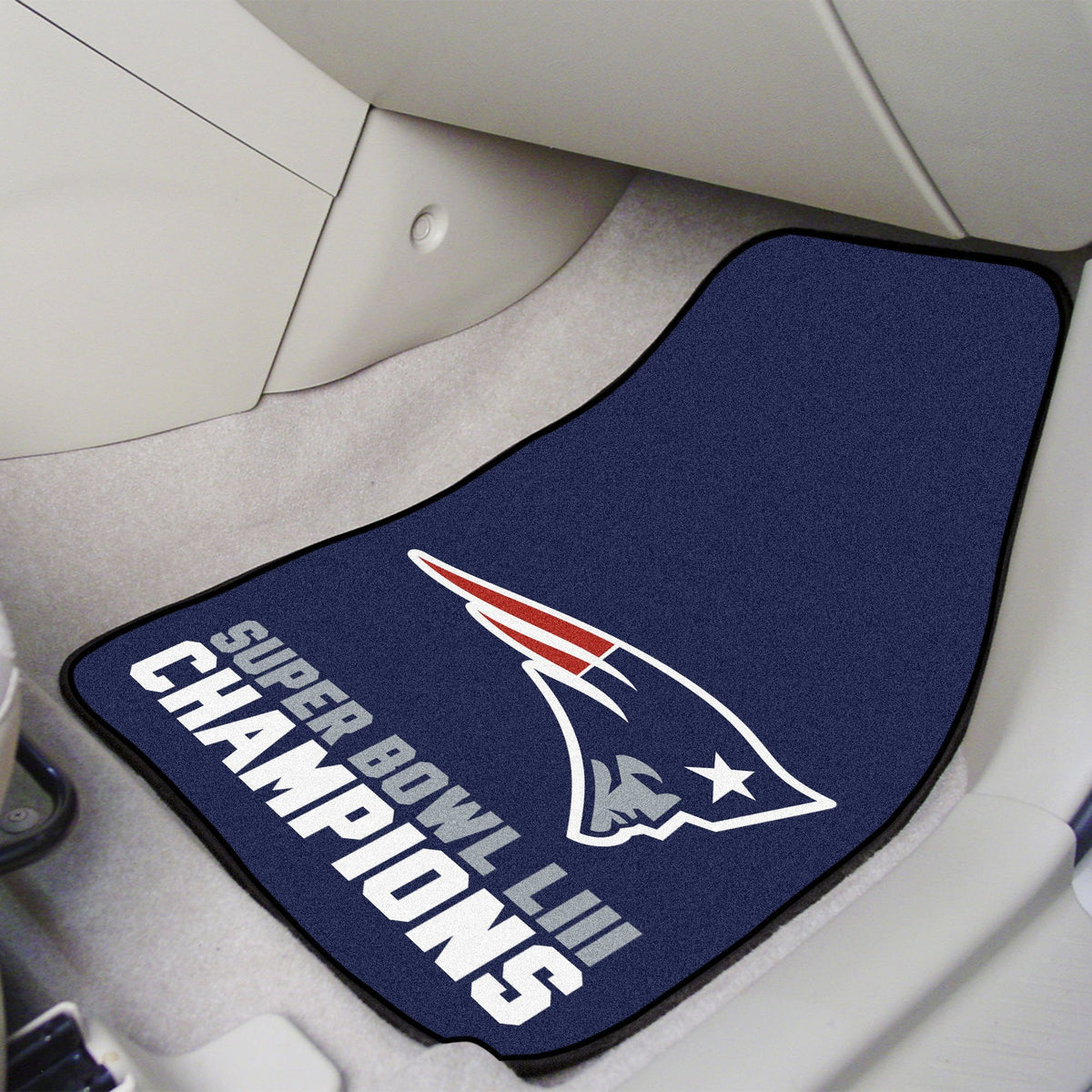 "NFL - 2-pc Carpet Car Mat Set, 17"" x 27"" NFL Mats, Front Car Mats, 2-pc Carpet Car Mat Set, NFL, Auto Fan Mats New England Patriots 2"