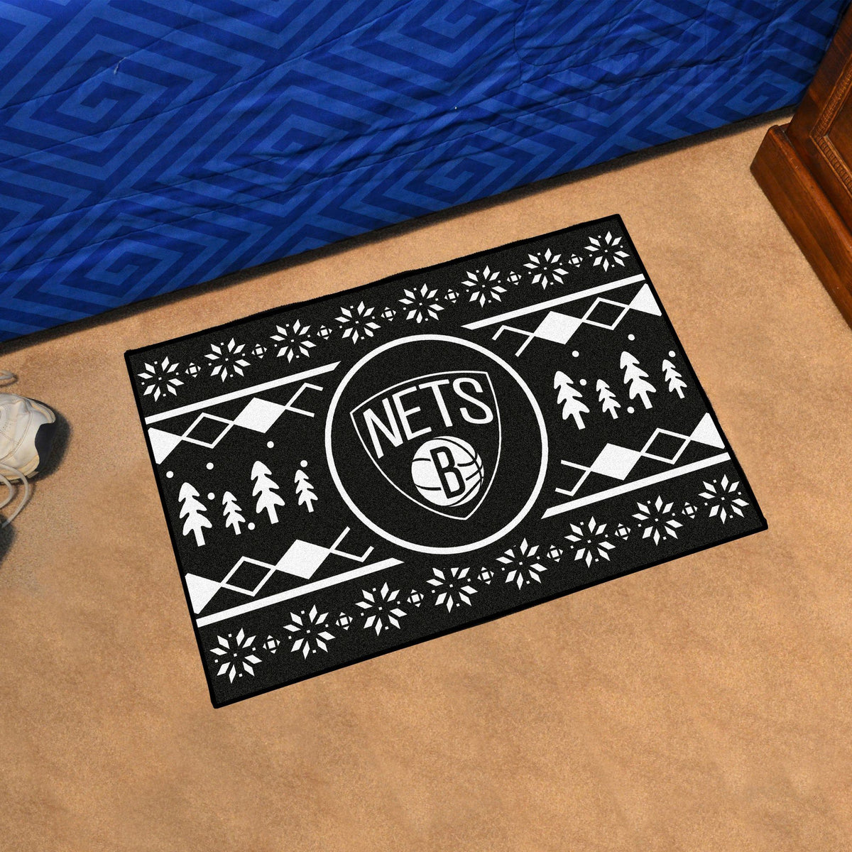 NBA - Holiday Sweater Starter Mat NBA Mats, Rectangular Mats, Holiday Sweater Starter Mat, NBA, Home Fan Mats Brooklyn Nets