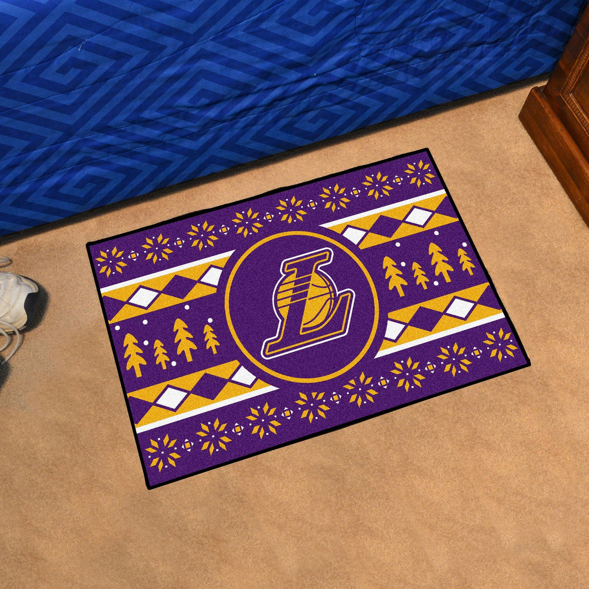 NBA - Holiday Sweater Starter Mat NBA Mats, Rectangular Mats, Holiday Sweater Starter Mat, NBA, Home Fan Mats Los Angeles Lakers