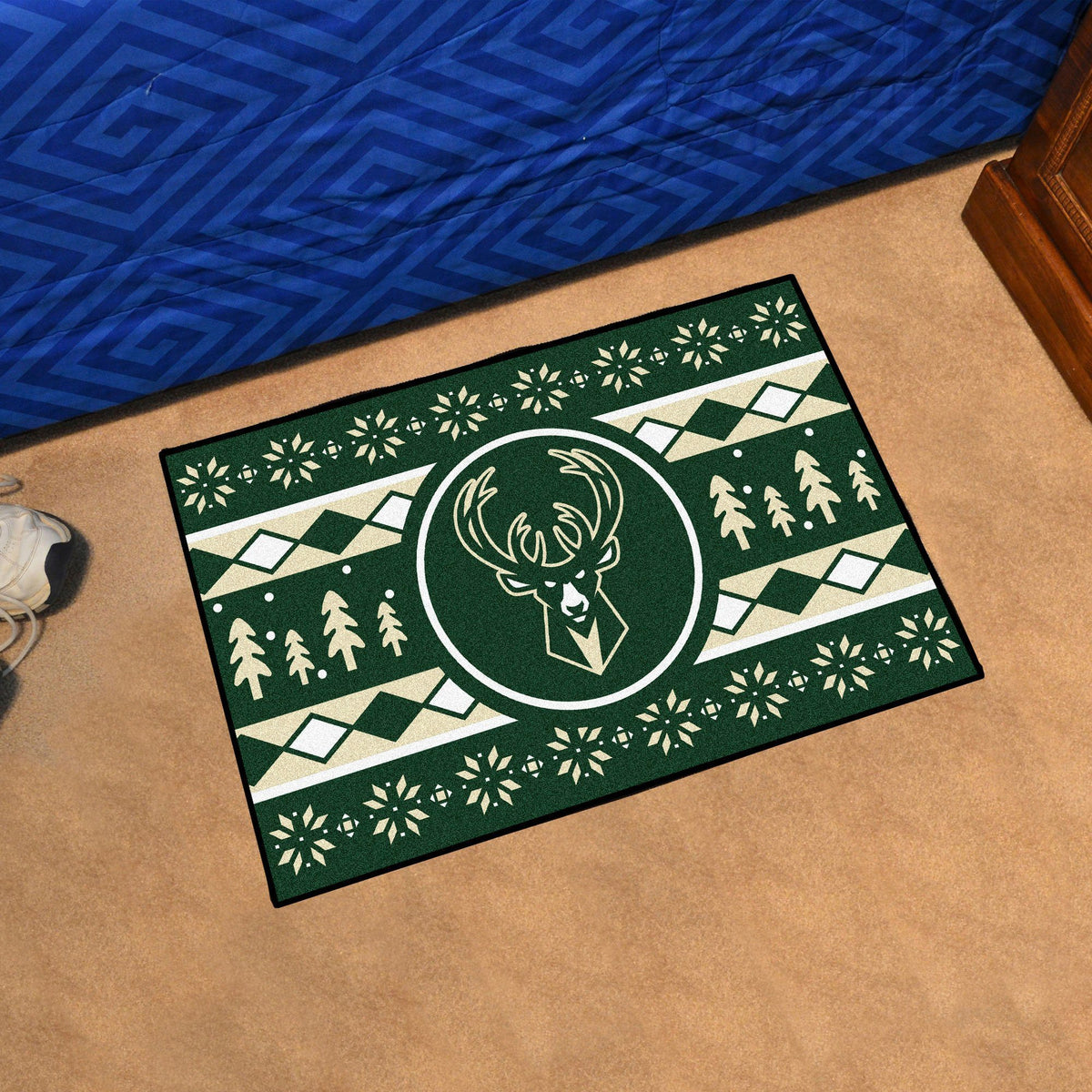 NBA - Holiday Sweater Starter Mat NBA Mats, Rectangular Mats, Holiday Sweater Starter Mat, NBA, Home Fan Mats Milwaukee Bucks