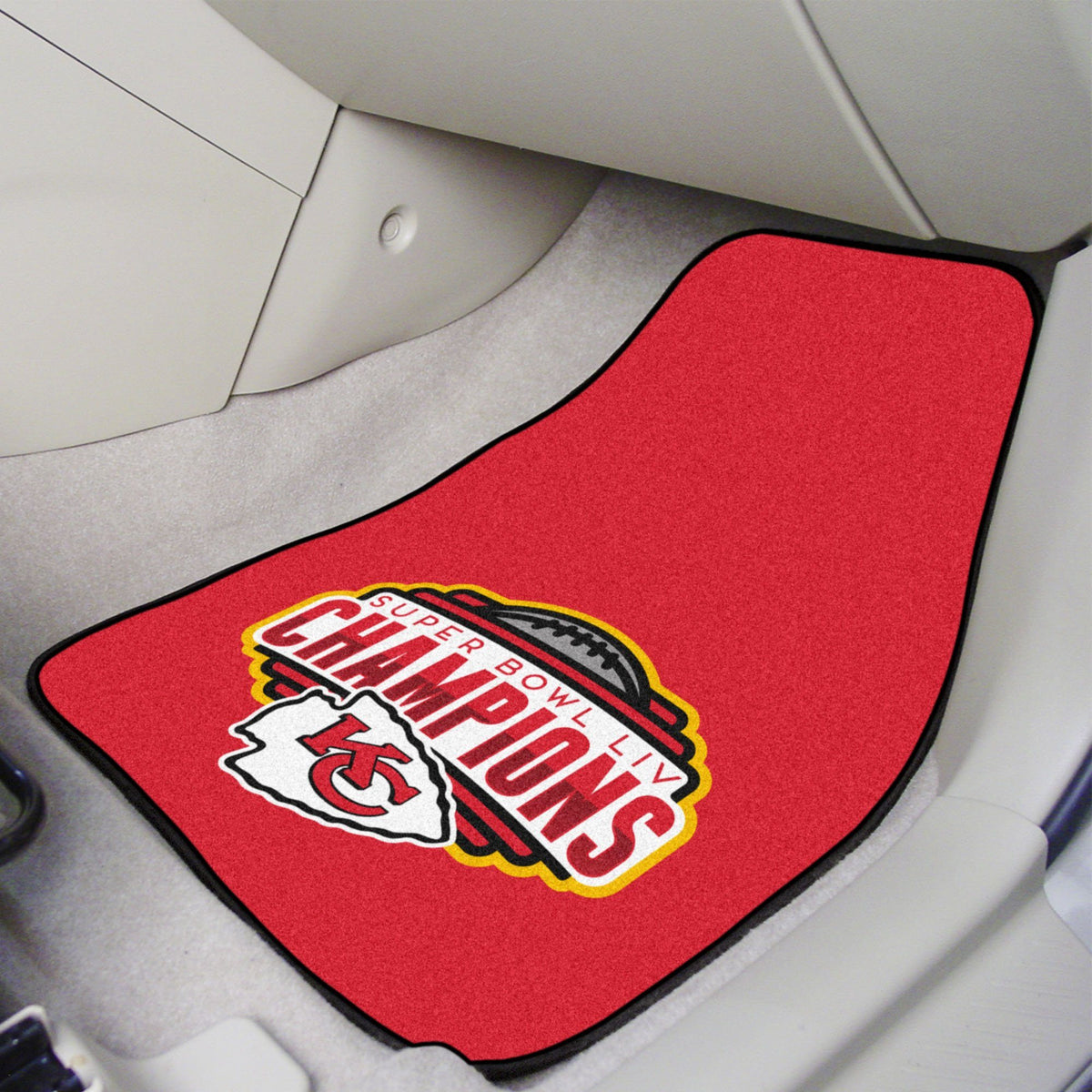 "NFL - 2-pc Carpet Car Mat Set, 17"" x 27"" NFL Mats, Front Car Mats, 2-pc Carpet Car Mat Set, NFL, Auto Fan Mats Kansas City Chiefs 2"