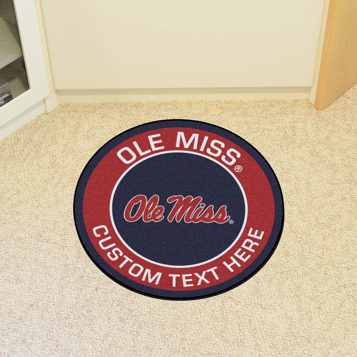 Collegiate Personalized Roundel Mat Personalized Roundel Mat Fan Mats University of Mississippi (Ole Miss)