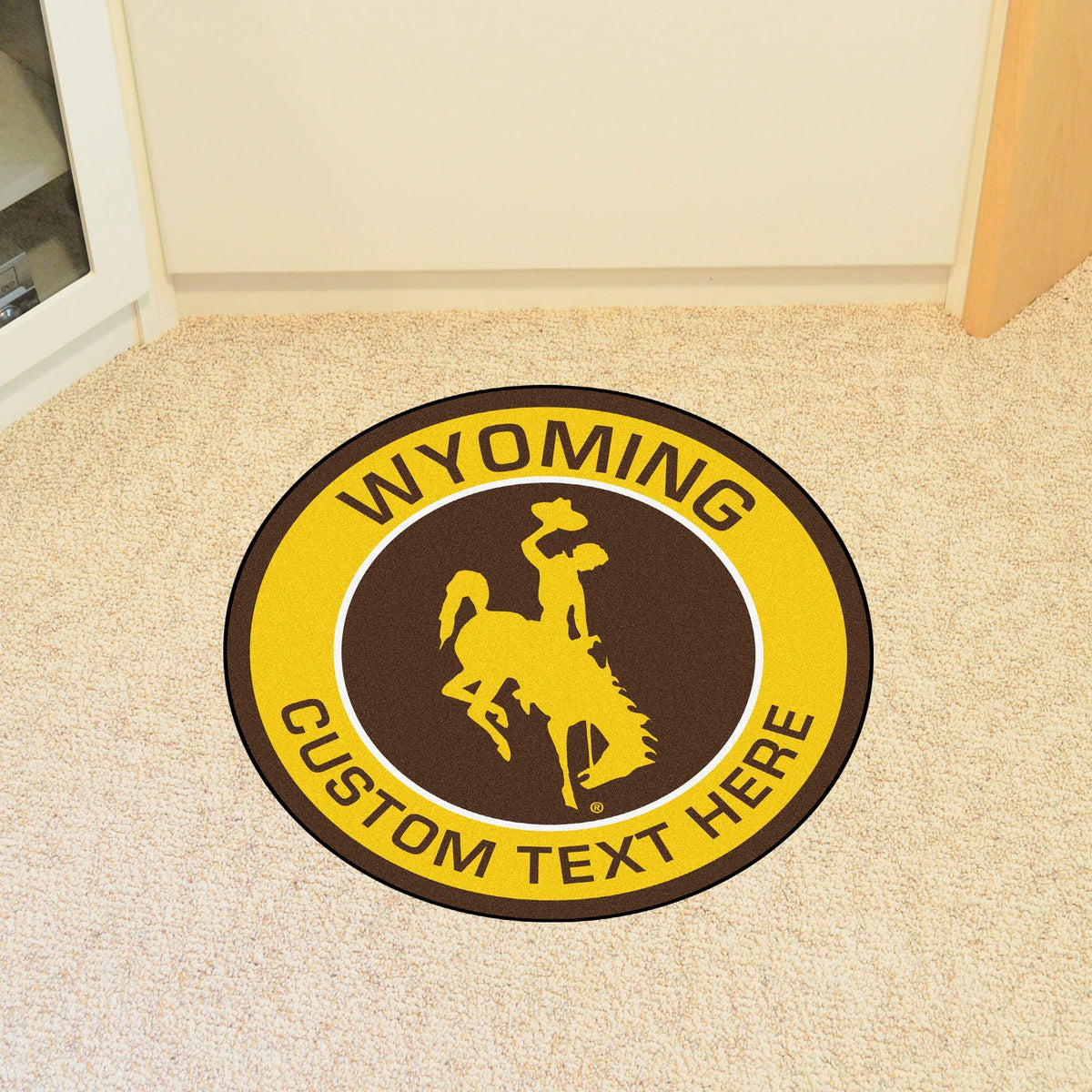 Collegiate Personalized Roundel Mat Personalized Roundel Mat Fan Mats University of Wyoming