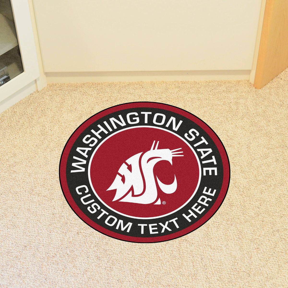 Collegiate Personalized Roundel Mat Personalized Roundel Mat Fan Mats Washington State University