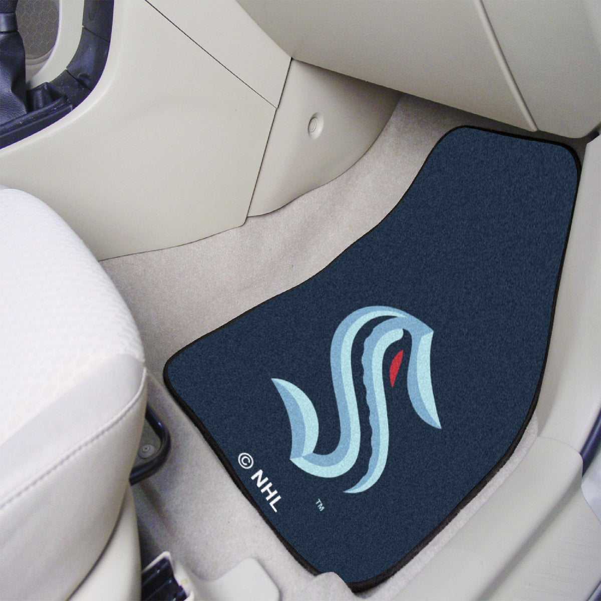 NHL - Carpet Car Mat, 2-Piece Set NHL Mats, Front Car Mats, 2-pc Carpet Car Mat Set, NHL, Auto Fan Mats Seattle Kraken