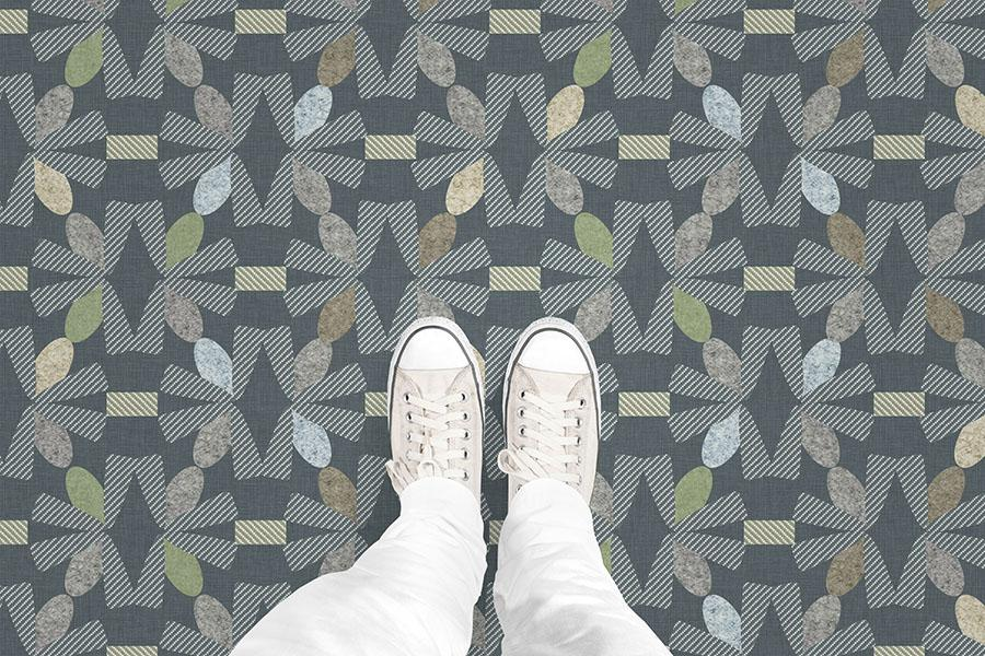 Stylized Starburst Printed Vinyl Flooring Design Pool - GIF