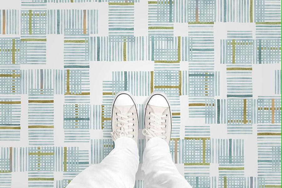 Plaid Overlay Printed Vinyl Flooring Design Pool - GIF