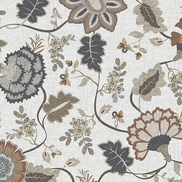 Floral Tapestry Printed Vinyl Flooring Design Pool - GIF Brown