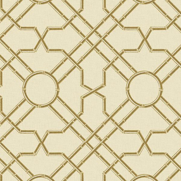 Bamboo Garden Trellis Printed Vinyl Flooring Design Pool - GIF Yellow