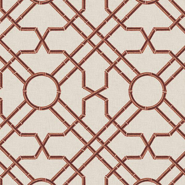 Bamboo Garden Trellis Printed Vinyl Flooring Design Pool - GIF Red
