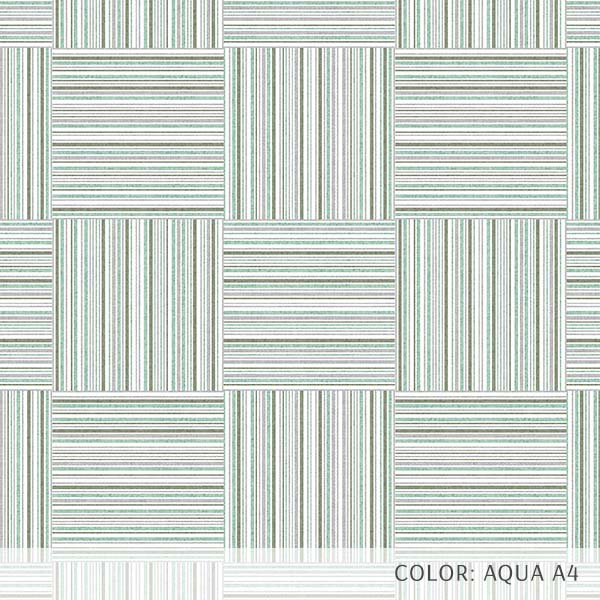 Textured Plaid Printed Vinyl Flooring Design Pool - GIF Teal