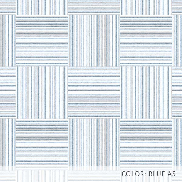 Textured Plaid Printed Vinyl Flooring Design Pool - GIF Blue