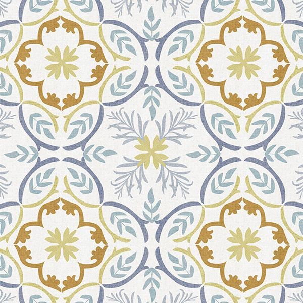 Lisbon Tile Printed Vinyl Flooring Design Pool - GIF Blue