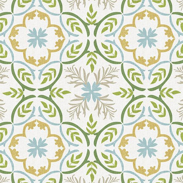 Lisbon Tile Printed Vinyl Flooring Design Pool - GIF Green