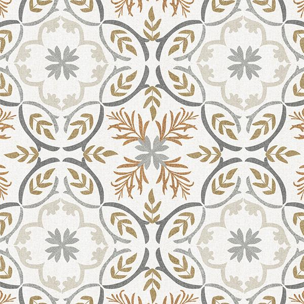Lisbon Tile Printed Vinyl Flooring Design Pool - GIF Brown