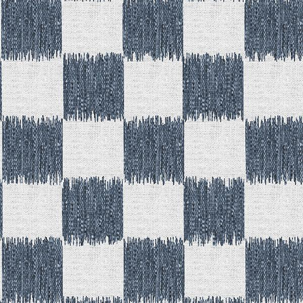 Ikat Check Printed Vinyl Flooring Design Pool - GIF Navy