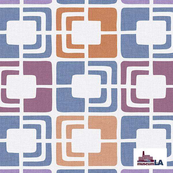 Retro Rectangles Museum LA Printed Vinyl Flooring Design Pool - GIF Blue
