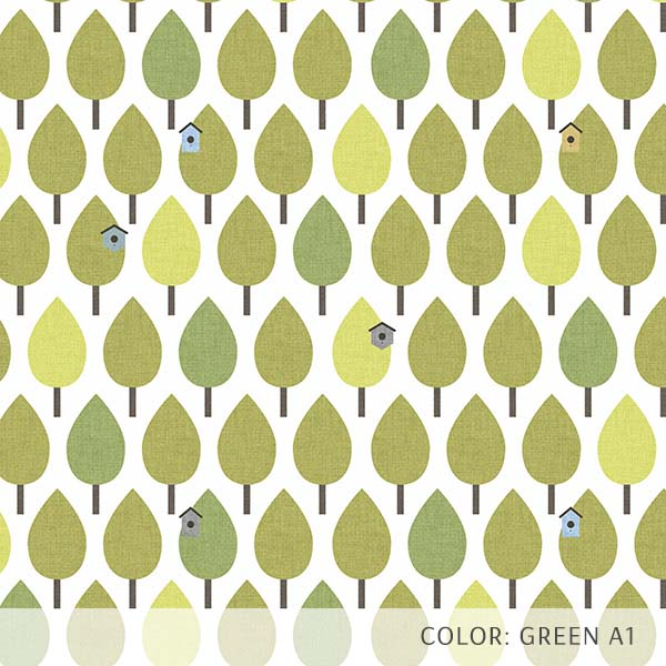 Trees with Birdhouses Printed Vinyl Flooring Design Pool - GIF