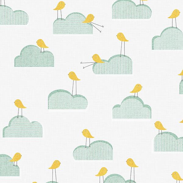 Birds on Clouds Printed Vinyl Flooring Design Pool - GIF