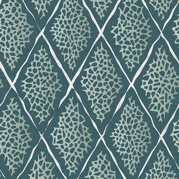 Coral Reef Diamond Printed Vinyl Flooring Design Pool - GIF Teal