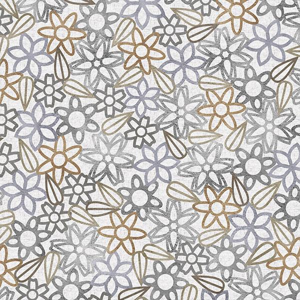 Floral Lace with Leaves Printed Vinyl Flooring Design Pool - GIF Gray