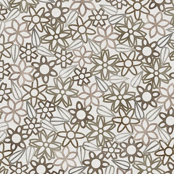 Floral Lace with Leaves Printed Vinyl Flooring Design Pool - GIF Brown