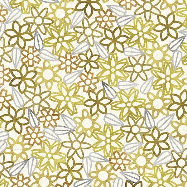 Floral Lace with Leaves Printed Vinyl Flooring Design Pool - GIF Gold