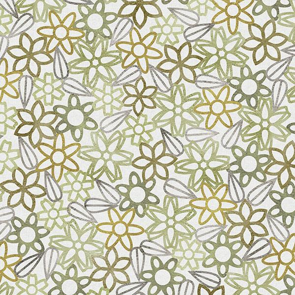 Floral Lace with Leaves Printed Vinyl Flooring Design Pool - GIF Khaki