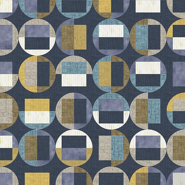 Circle Gets the Square Printed Vinyl Flooring Design Pool - GIF Blue
