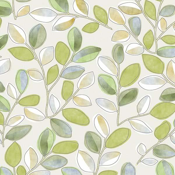 Cherry Plum Leaves Printed Vinyl Flooring Design Pool - GIF Green