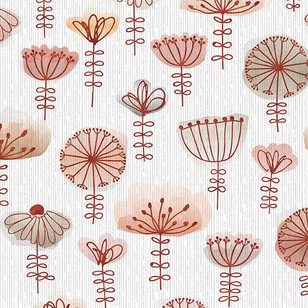 Watercolor Sketch Floral Printed Vinyl Flooring Design Pool - GIF Red
